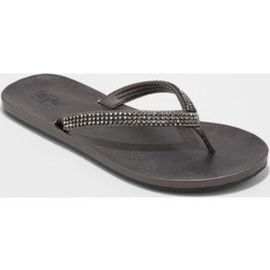 Mossimo Rhinestone Black Flip Flop Sandals